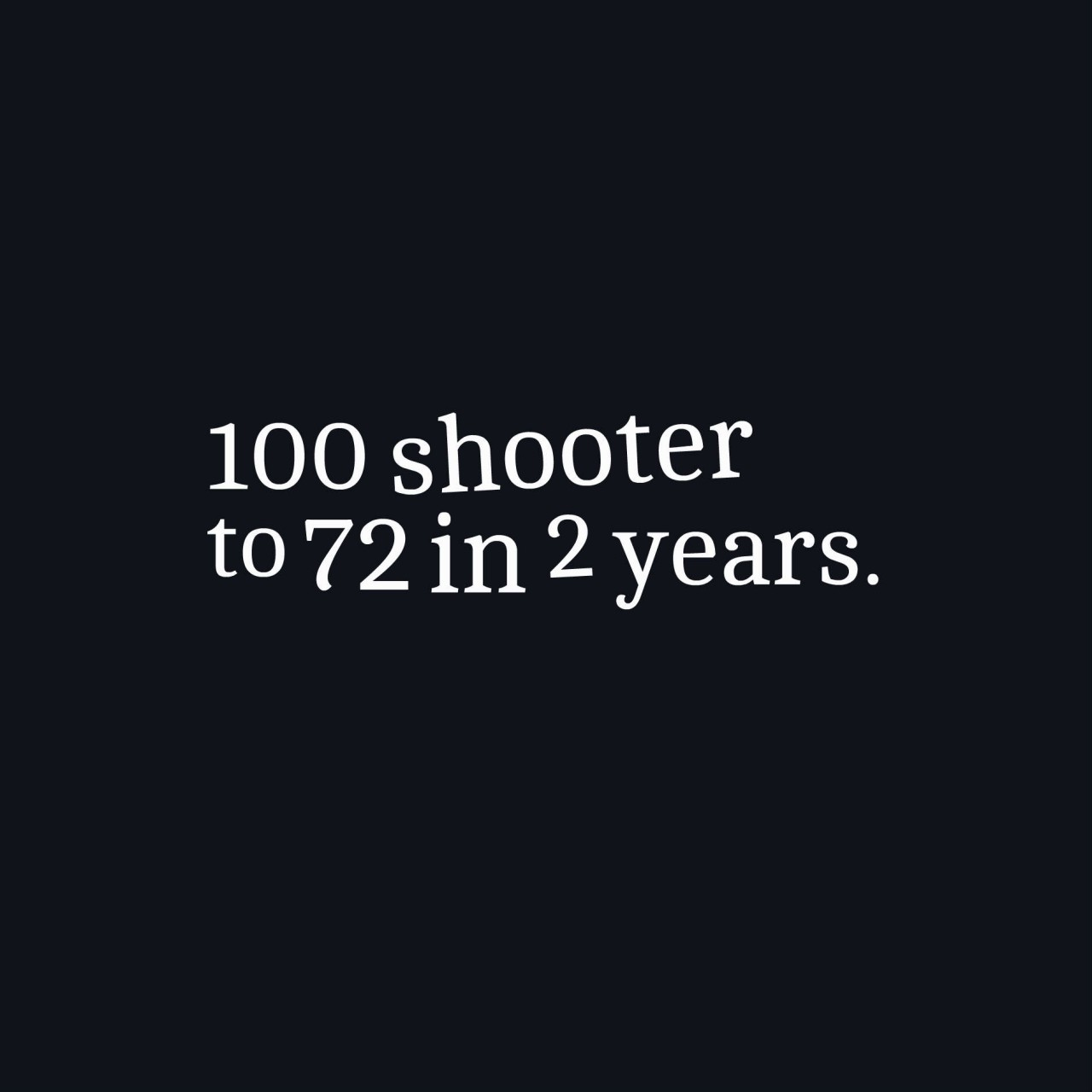 100 shooter to 72 in 2 years.